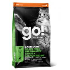 Корм GO! беззерновой для котят и кошек с чувствительным пищеварением с форелью и лососем, Solutions Carnivore Freshwater Trout + Salmon - 3,63 кг