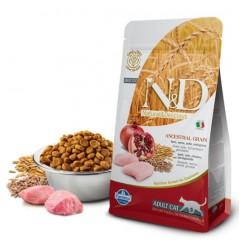 N&D Low Grain Cat Chicken & Pomegranate Adult - 1,5 кг - Спельта, овес, курица, гранат. Полнорационный корм для взрослых кошек.