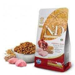 N&D Low Grain Cat Chicken & Pomegranate Neutered - 1,5 кг - пельта, овес, курица, гранат. Полнорационное питание для взрослых  кастрированных кошек.