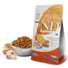 N&D Low Grain Cat Codfish & Orange - 1,5 кг - Спельта, овес, треска, апельсин. Полнорационный корм для взрослых кошек.