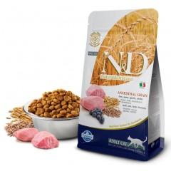 N&D Low Grain Cat Lamb & Blueberry Adult - 1,5 кг - Спельта, овес, ягненок, черника. Полнорационный корм для взрослых кошек
