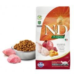 N&D Cat GF Pumpkin Quail - 0,3 кг - Перепел, тыква и гранат. Полнорационный сухой корм для взрослых кошек.