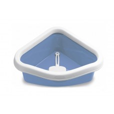 Туалет угловой Sprint Corner, с рамкой и совочком, голубой, 40x56x14 см