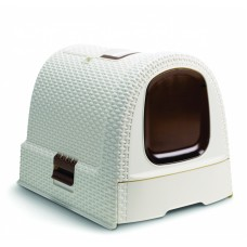 Туалет-домик для кошек, кремово-коричневый, 51x39x40 см