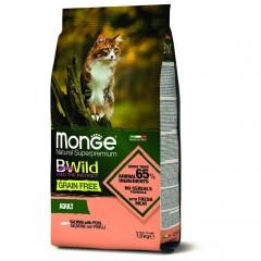 Monge Cat BWild GRAIN FREE беззерновой корм из лосося для взрослых кошек 1,5 кг