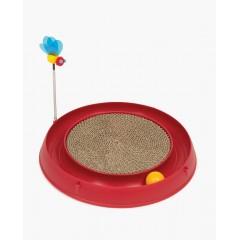 Круглая красная когтеточка с мячиком и игрушкой-пчелкой