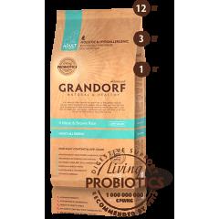 Сухой низкозерновой корм с живыми пробиотиками для собак - 4Meat & Brown Rice Adult All Breeds - Четыре вида мяса с бурым рисом для взрослых собак всех пород - 12 кг