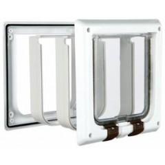 Дверца для кошки (15,8х14,7см), с 4 функциями с туннелем, белая