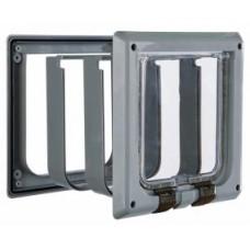 Дверца для кошки (15,8х14,7см)с 4 функциями с туннелем серая