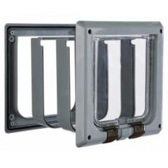 Дверца для кошки (15,8х14,7см), с 4 функциями с туннелем, серая