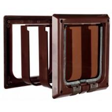 Дверца для кошки (15,8х14,7см)с 4 функциями с туннелем коричневая